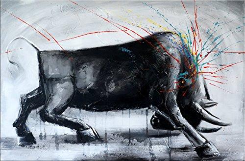 Kunst & Ambiente - Abstrakter Stier Stierbild I - Stiergemälde - Martin Klein - Bulle - Acryl auf Leinwand - Modern Art Gemälde - 120x80cm - Wandbild - Bild