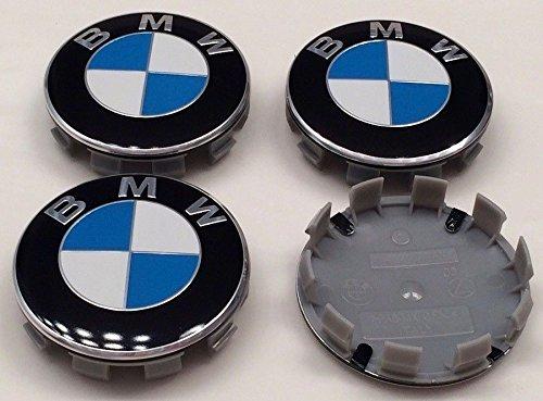 B M W Set 4Stück blau/weiß Legierung Felgendeckel 10Pin Clips 68mm passend für Serie 1235678Z3Z4M3M5M6X1X3X5X6E30E32E34E36E38E39E46E60E65E90