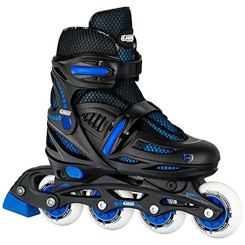 Crazy Skates Adjustable Inline Skates for Girls and Boys - Adjust to fit 4 Sizes - Model 148 - Black / Blue (Size: Medium - Sizes 2-5)