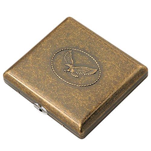 Cig-U Kupfer Zigarettenetuis Zigarettenschachtel Zigaretten Kasten - doppelseitig Flip öffnen Tasche Tabak Aufbewahrungskoffer - halten 20 normale Größe Zigaretten (Adler)