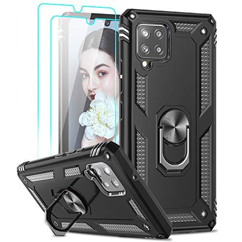 LeYi Funda para Samsung Galaxy A42 5G (NO para 4G) con [2-Unidades] Cristal Vidrio Templado,Armor Carcasa con 360 Anillo iman Soporte Hard PC y Silicona TPU Bumper Antigolpes Case para A42 5G,Negro