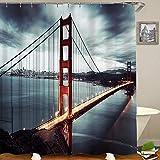 HUAYEXI Cortinas Ducha,Puente Golden Gate en San Francisco, California, EE.UU,Cortina de Ducha Cortina de Ducha con 12 Ganchos 180x180cm