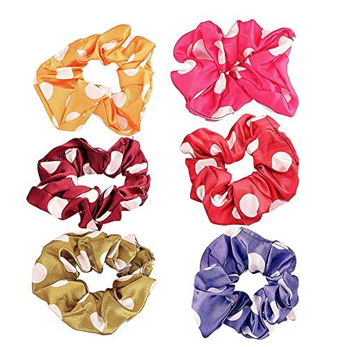 Kalagiri, estampado de satén de seda, 6 piezas, cola de caballo, elástico, elástico, para mujeres y niñas (paquete de 6 piezas)