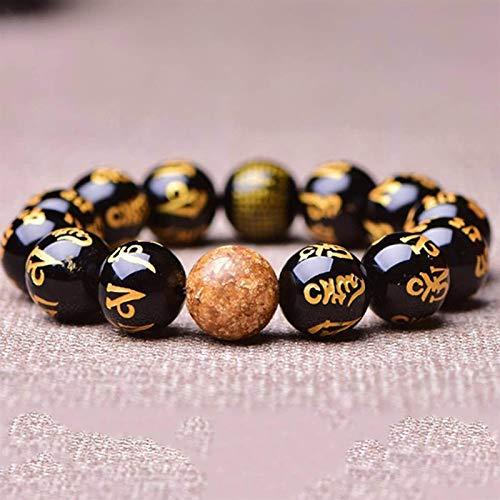 Feng Shui Black Obsidian Pulsera de la riqueza de la obsidiana de seis personajes Mantra Buddha Beads Charm Bracelet Feng Shui Lucky Regalos chinos para la curación Atraer dinero para una buen