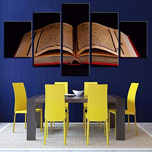 Cczxfcc La Tela Di Canapa Pittura Hd Stampa La Decorazione Domestica 5 Pezzi Di Arte Islamica Del Libro Della Parete Per Il Fondo Del Comodino Immagini Modulari Poster-20X35/45/55Cm-Frame