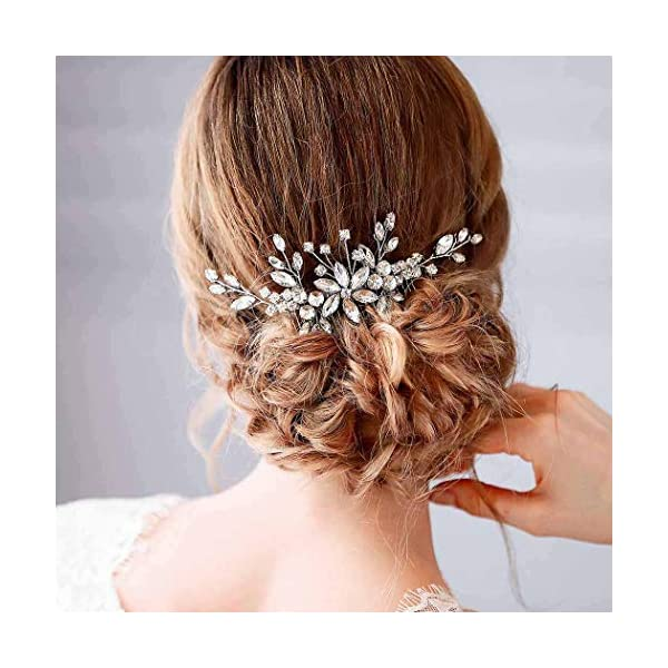 Barode Bridal Wedding Hair Comb Silver Rhinestone Flower Bride Headpieces Leaves Hair Accessories Jewelry for Women and Girls