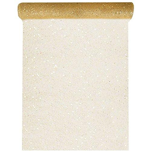Tischläufer Tüll Glitter 30cm x 5m Gold Tüllstoff Tischdecke Hochzeit Dekostoff Deko