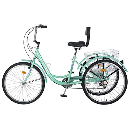 Barbella Adult Tricycle, 24-Inch Single and 7 Speed Three-Wheeled Cruise Bike with Large Size Basket for Recreation, Shopping, Exercise Men's Women's Bike (Light Green)