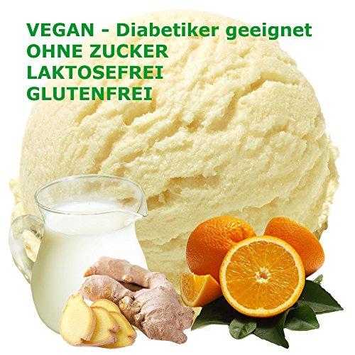 Orange-Ingwer Geschmack Eispulver VEGAN - OHNE ZUCKER - LAKTOSEFREI - GLUTENFREI - FETTARM, auch für Diabetiker Milcheis Softeispulver Speiseeispulver Gino Gelati (Buttermilch Orange-Ingwer, 1 kg)