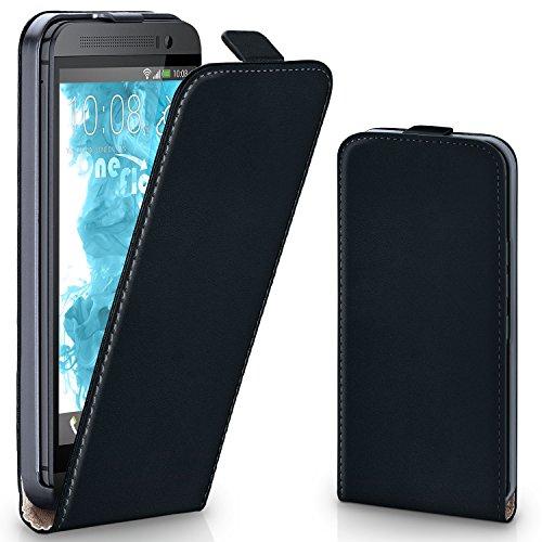 MoEx® Flip Case mit Magnetverschluss [R&um-Schutz] passend für HTC One M8 | 360° Handycover aus feinem Premium Kunst-Leder, Schwarz