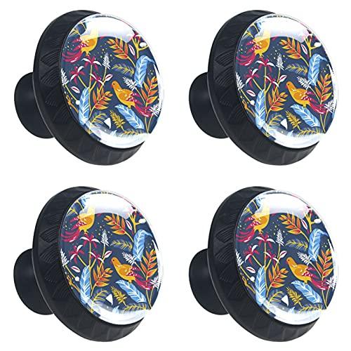 KAMEARI Nature Birds - Tirador de 4 piezas para cajones con forma de círculo, de cristal, con tornillos, para casa, cocina, oficina