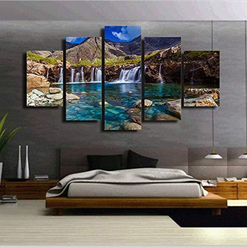 FGVBWE4R HD Prints für Wohnzimmer Dekoration Wand Bilder 5 Panel Wasserfall Berg Kunstwerke Gemälde Leinwand Cuadros Poster-XXL