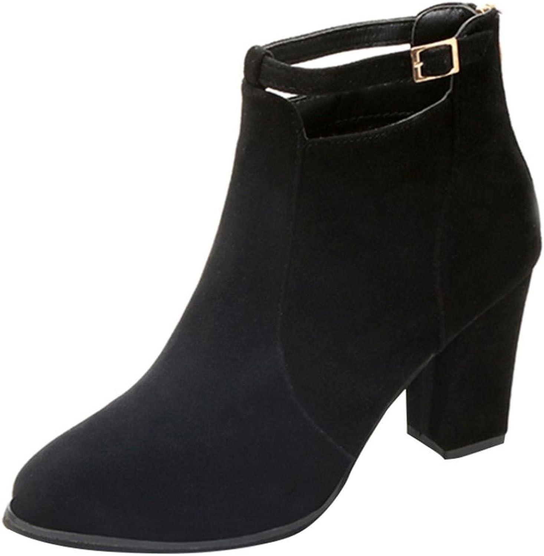Women shoes HGWXX7 Solid Casual Matte Zipper Faux Warm Boots Ankle Boots High Heels shoes