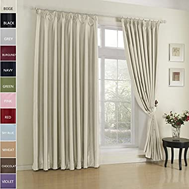 FirstHomer Pinch Pleat Solid Window Treatment Thermal Insulated Blackout Room Darkening Curtains / Drapes for Bedroom,50 Inch Wide By 96 Inch Long,Beige(One Panel)
