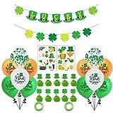 VOUNEDA Juego de Recuerdos de Fiesta temática de trébol, Conjunto de pancartas de Globos de látex, Pegatina Verde de la Suerte, Bandera de Pastel de Globo para decoración de Suministros de Fiesta