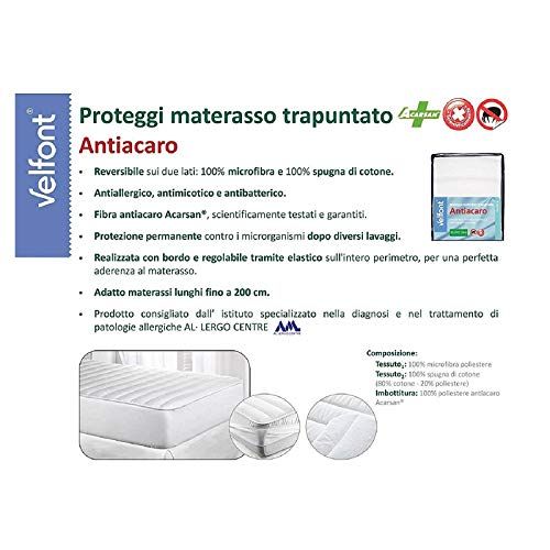 Velfont Quilted Mattress Protector Sponge Mattress Protector Anti Dust Mite, Anti Allergy, Antifungal Antibacterial Double Face tested UNA PIAZZA