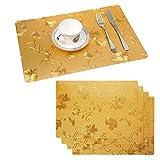 Raniaco Platzsets Abwischbar Abwaschbar Tischsets-4er Set PVC Abgrifffeste Hitzebeständig Platzdeckchen, Schmutzabweisend und rutschfest, Tischunterlage für Küche Speisetisch | Gold