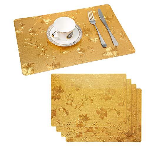 Raniaco Tovagliette Americane Colazione Lavabili-45X30Cm Set Da 4 Tovagliette Colazione Plastica Non-Scivolose Resistenti Al Calore, Tovagliette Per Tavolo Da Cucina (Oro)