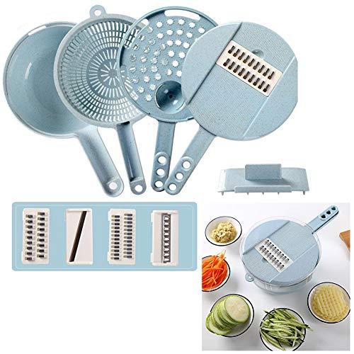 Tancurry Elegante rallador multifunción de verduras, cortador de huevos, herramienta de cocina multiusos (azul)