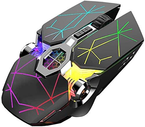 LEIL Mouse inalámbrico 2.4 G, 5 Botones, Recargable, con nanoreceptor USB, 3 Niveles de dpi Ajustables, Luces LED Coloridas para Laptop, computadora (Star)