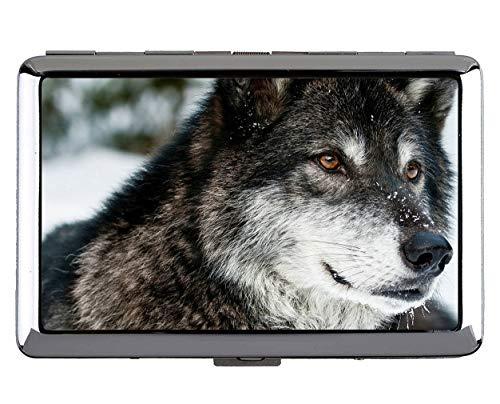 Zigarettenetui, Tier Wolf blu Kartenhalter aus Edelstahl