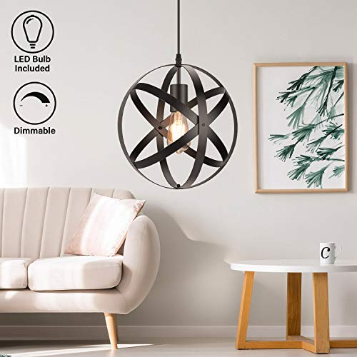 Industrial Metal Pendant Light, 11.8'' Farmhouse Hanging Light Fixtures, Adjustable Chandelier Ceiling Lamp, Spherical Pendant Lighting for Kitchen Island Dining Room, LED Bulb Included, Matte Black