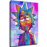Xlcsomf Impresión 3D de pintura al óleo Rick And Morty – Póster de dibujos animados de 30,4 x 40,6 cm para sala de estar, dormitorio, hogar, cuadro decorativo estirado y enmarcado