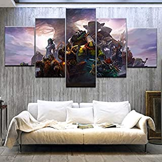 Canvas Picture Canvas Oil Printed Painting 5 Panel Wall Art Picture Vengeful Spirit Modular Artwork Framework For Living R...