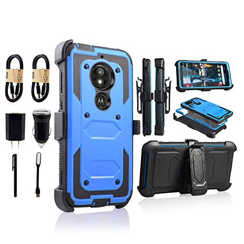 Moto E5 Play Case, Motorola E5 Cruise Holster Clip, Shockproof Heavy Duty Built-in Screen Protector w/Belt Clip Kickstand for Moto E5 Play [Value Bundle] (Blue) (Best Processor For Pc In India)