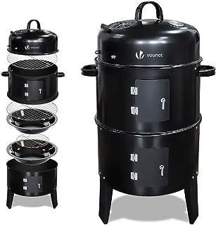 vounot Barbecue Fumoir Smoker Multifonctions BBQ 3 en 1 Thermomètre intégré Barbecue Grill Charbon de Bois avec accroches ...