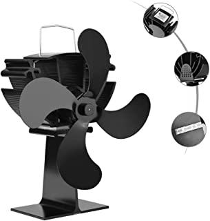 ZCSPFAIRY 4 Blades Heat Powered Stove Fan for Wood/Log Burner/Fireplace Circulates Warm/Heated Air – Eco-Friendly and Economical - High Temperatures of Up to 360 ° C