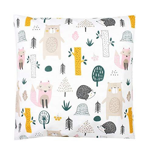 TupTam Kinder Kissenbezug Dekorativ Gemustert, Farbe: Waldtiere, Größe: 40 x 60 cm