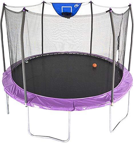 Skywalker Trampolines 12-Foot Jump N' Dunk Trampoline with Enclosure Net - Basketball Trampoline, Purple