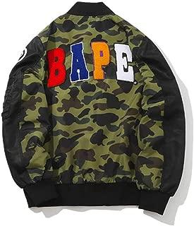 QYS Men's Metal Copper Bape Shark Cotton Flight Baseball Jacket Outwear,Black,XXL