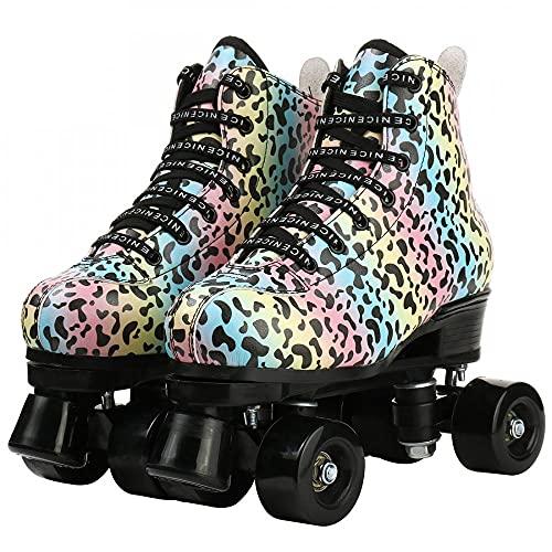 MilkyWay Patines para mujer, patrón de leopardo arcoíris de piel de microfibra de alta calidad, ruedas ajustables, zapatos clásicos para exteriores para niñas y niños (ruedas negras, 42)