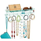 mDesign Closet Wall Mount Men's Accessory Storage Organizer Rack - Holds Belts, Neck Ties, Watches, Change, Sunglasses, Wallets - 19 Hooks and Basket - Mint Green
