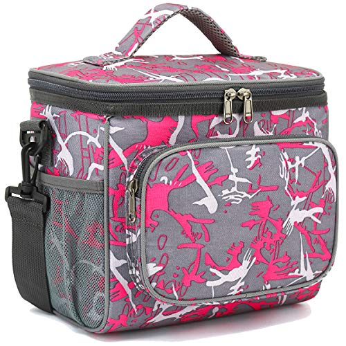 Insulated Reusable Lunch Bag Adult Large Lunch Box for Women and Men with Adjustable Shoulder Strap,Front Zipper Pocket and Dual Large Mesh Side Pockets by FlowFly (Multi)