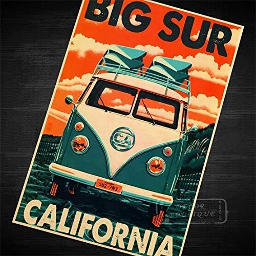 haoziggdeshoop Jagd auf Riesen Mavericks Reise Vintage Surf Beach Poster Retro Leinwand DIY Wandaufkleber Kunst Home Bar Poster Dekor Geschenk 50x70cm Rahmenlos P-7644