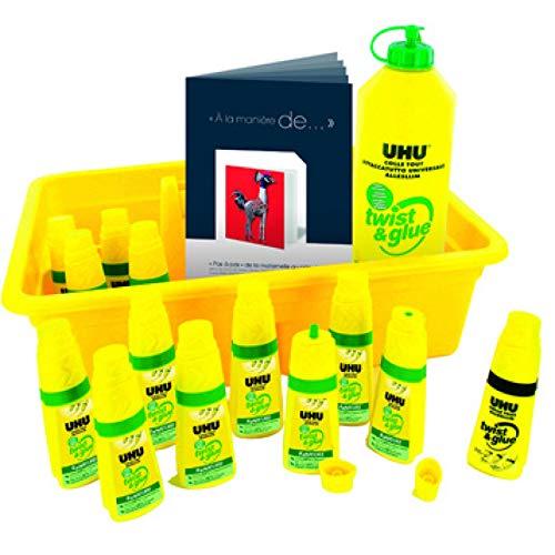 UHU UHU Schoolpack de 12 flacons Twist and Glue + recharge 500ml
