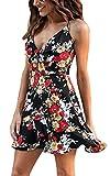 WOZNLOYE Estate Vestiti Donna Casual Stampa Irregolare Lato Foglia di Loto Abito da Spiaggia Sexy Scollo V Pin Up Mini Vestito da Cocktail Partito Festa