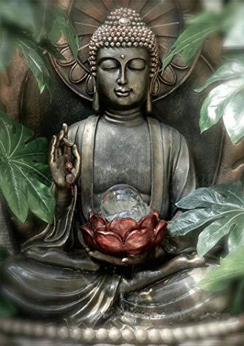 Reofrey Diamond Painting 5D Pintura Diamante Lotus Estatua Buda Bricolaje Completo Taladro Arte, Diamantes Imitación Bordado Pegatinas de Pared Decoración de La sala 30x40cm