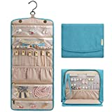 BAGSMART Travel Hanging Jewelry Organizer Case Foldable Jewelry Roll with Hanger for Journey-Rings, Necklaces, Bracelets, Earrings, Teal