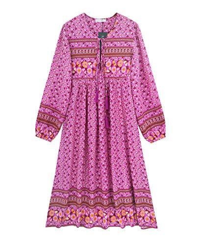 R.Vivimos Damen Beiläufig Bohemien Drucken Krawatte Langarm Strand Stil Lang Midi Kleid Berufung Kleid (2XL,Magenta)