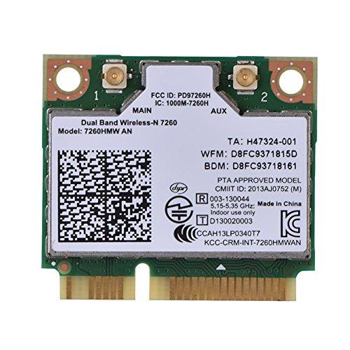 Fosa 2in 1Bluetooth WLAN-Karte Dualband für Intel/7260HMW, PCI-E, 300Mbit/s, High-Speed, WLAN-Mainboard (Intel 7260, 7260HMW, Wildschweinborsten