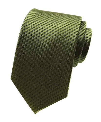 Vinesen Herren Krawatte, einfarbig, feine Streifen, glatt, formell gerippt - Grün - Einheitsgröße