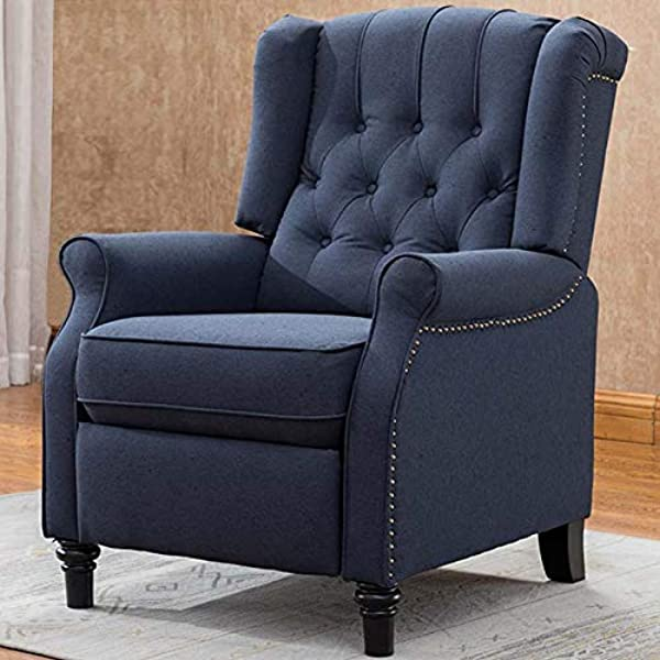 CANMOV Elizabeth Fabric Arm Chair Recliner With Tufted Back Dark Blue