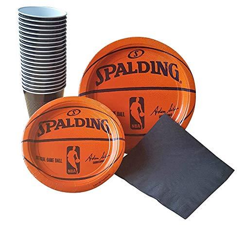 Spalding Basketball Party Supplies Pack für 18–inkl. Abendessen Teller, Dessertteller, Teller, Tassen, Kunststoff, und Servietten