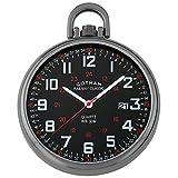 Gotham Men's Gun-Plated Stainless Steel Analog Quartz Date Railroad Style Pocket Watch # GWC14107BBK