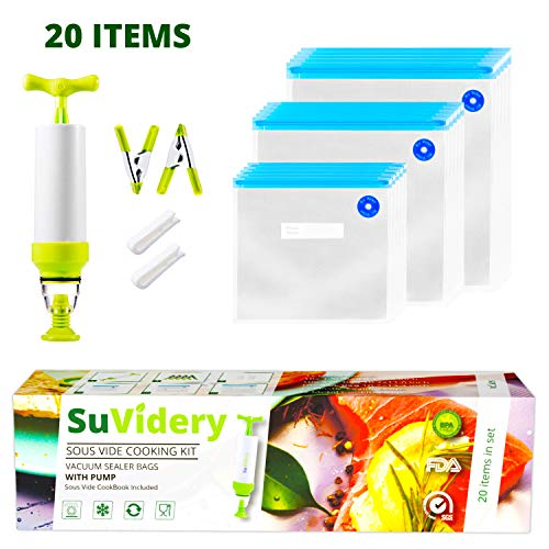 SuVidery Sous Vide Bags 15 Reusable Vacuum Sous Vide Cooking Bags - 3 Sizes Sous Vide Bag Kit with Clips and Pump Compatible with Anova Joule Chefsteps Wancle Sous Vide Cooker