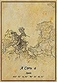 Póster de mapa de España A Coruña, impresión en lienzo, estilo vintage, sin marco, decoración de regalo 22,4 x 35,4 cm